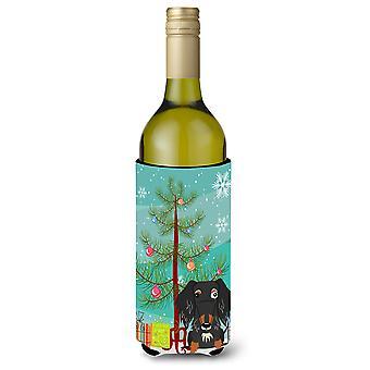 Merry Christmas Tree Wire tukkainen mäyräkoira täplä viinipullo Beverge eriste