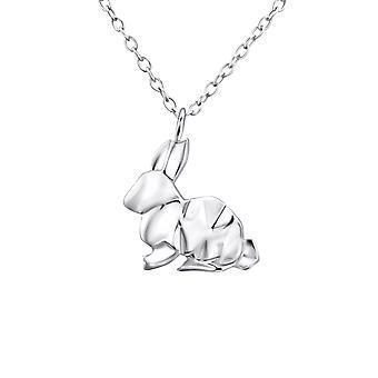 Origami Tavşan - 925 Gümüş Düz Kolye - W26038x