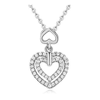 Womens Double Heart Pendant Necklace Silver