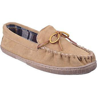 Mirak Mens Alberta Suede Textile Lined Moccasin Style Slipper Brown
