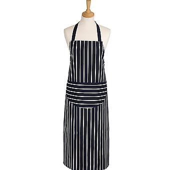 Rushbrookes Classic Butcher's Stripe Longer Length Apron, Navy