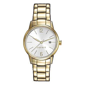 Esprit Damen Uhr Armbanduhr Abbie Edelstahl Gold ES100S62013