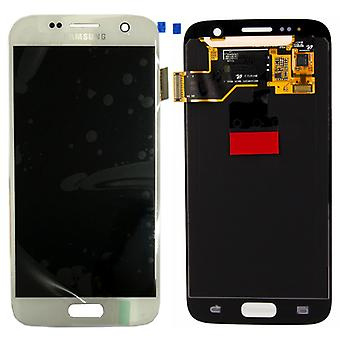Display LCD komplet sæt hvid for Samsung Galaxy S7 G930 G930F GH97 18523D