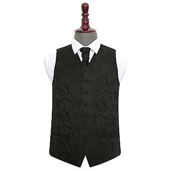 Black Floral Wedding Vest & Cravat Set