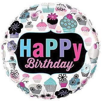 Qualatex 18in Birthday Cupcakes Round Foil Balloon