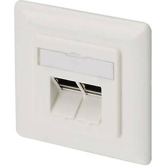Digitus DN-9007 Network outlet Flush mount Insert with main panel and frame CAT 6A 2 ports Pure white