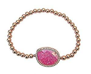 Bracelet 24 ct gold filled with sandy pink semi precious stone