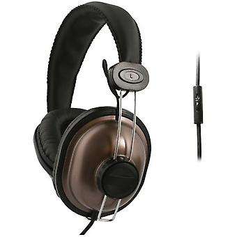 UMA - DJ Style Universal 3.5mm Headphones with Handsfree Controls - Brown