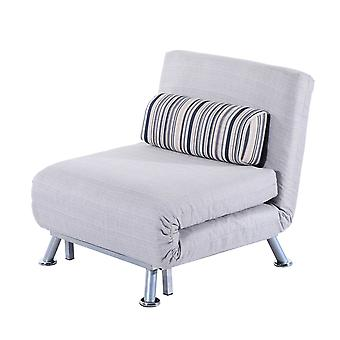 HOMCOM Faux Suede Convertible Sofa Chair Bed w/ Metal Frame Linen Fabric Padding Pillow Adjustable Back Armless Home Furniture Space Saving Grey