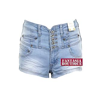 Ladies High Waisted Denim Light wash Blue Faded HotPants Women's Fitted Shorts