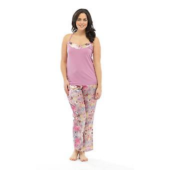 Ladies Wolf & Harte Satin Floral Print Strappy Top Summer Pyjama Lounge Wear
