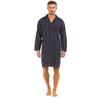 Haigman Printed Brushed Cotton Nightshirt Sleepwear-Navy Stripe-2X-Large 47-49