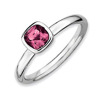 925 Sterling Silver Bezel Polished Rhodium plated Stackable Expressions Cushion Cut Pink Tourm. Ring Jewelry Gifts for W