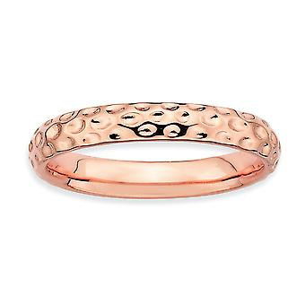 925 Sterling Silver Polished Patterned Stackable Expressions Pink plated Ring Jewelry Gifts for Women - Ring Size: 5 to