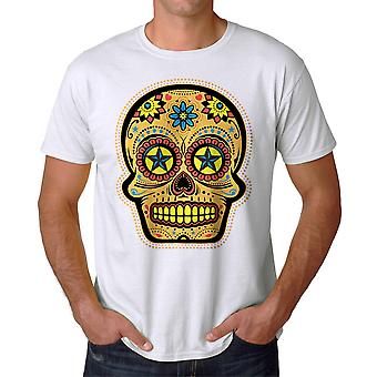 Mexican Candy Skull Graphic Men's White T-shirt