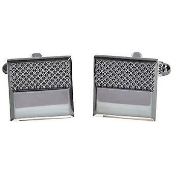 David Van Hagen skinnende Gunmetal teksturert ren Square mansjettknapper - grå