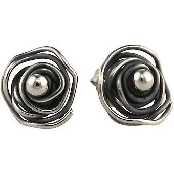 Ti2 Titanium Circular Chaos Stud Earrings - Black
