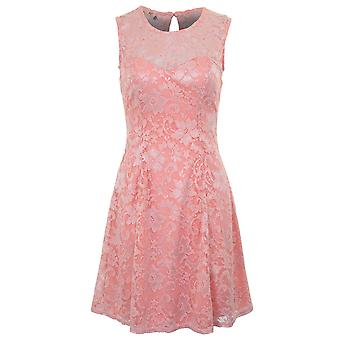 Ladies Sleeveless Floral Lace Lined Skater Flare Key Hole Cut Out Back Dress