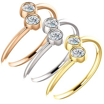 1/4ct 2-Stone Diamond Forever Us Engagement Ring in White, Yellow, Rose Gold