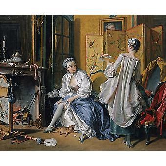 Lady Fastening sa jarretière, François Boucher, 52,5 x 66,5 cm