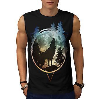 Camiseta de BlackSleeveless de los hombres de naturaleza Luna del lobo | Wellcoda
