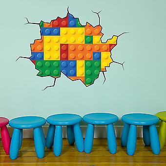 Full Colour Building Block Bricks Wall Sticker