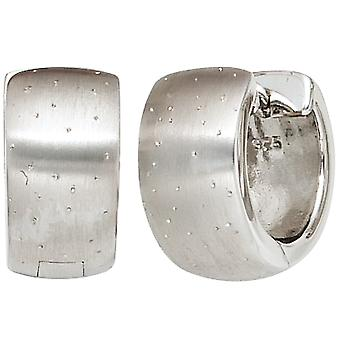 Sparkling hoops rhodium plated 925 Sterling Silver earrings silver satin-finish with folding mechanism