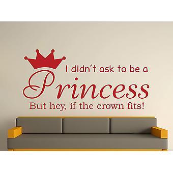 Ser una princesa v2 Wall Sticker Art - rojo oscuro