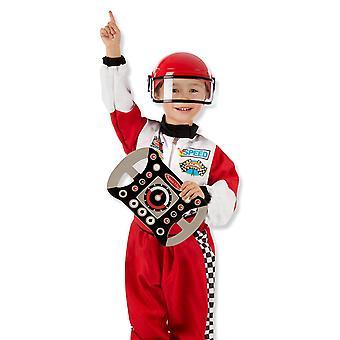 Melissa och Doug Childrens racerförare Fancy Dress kostym (3-6 år) med tillbehör