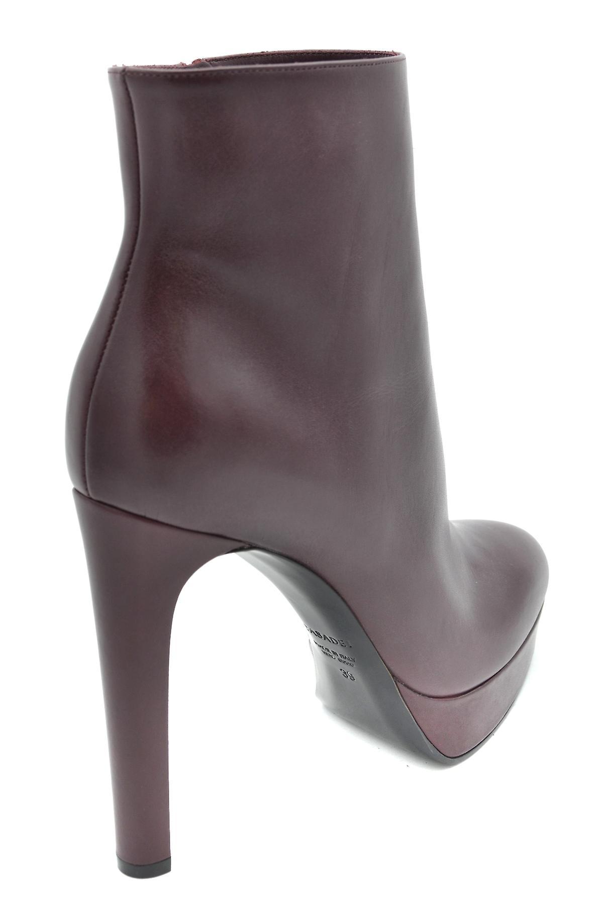 Casadei Ezbc038006 Women's Burgundy Leather Ankle Boots