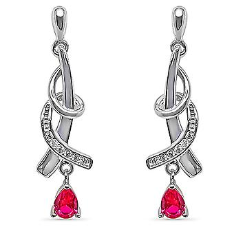Ah! Jewellery Twist Design Earrings With Fuchsia Drop & Paved Crystals From Swarovski
