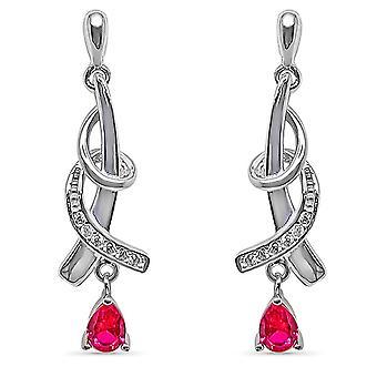 Ah! Smycken Twist Design Örhängen med Fuchsia släppa & banade kristaller från Swarovski