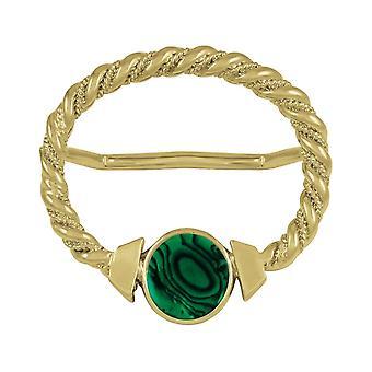 Wieczne Ring duży złoty szalik Maxi zielony Paua powłoki kolekcji
