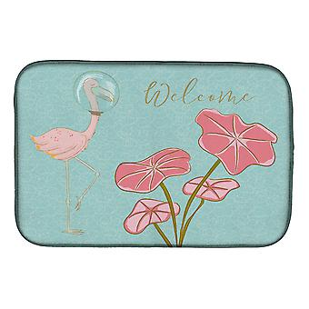 Carolines Treasures BB8532DDM Flamingo Tervetuloa lautasen kuivaus matto