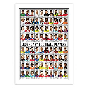 Kunst-poster 70 x 100 cm-legendarische voetbalspelers-Olivier Bourdereau