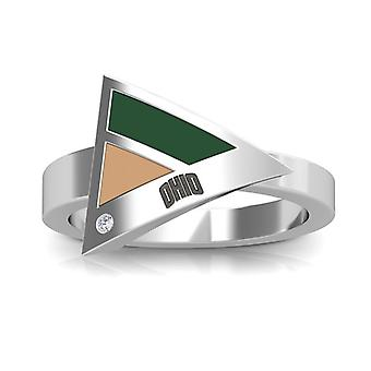 Ohio University Engraved Sterling Silver Diamond Geometric Ring In Green and Brown