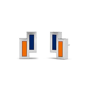 Pepperdine University Sterling Silver Asymmetric Enamel Stud Earrings In Blue and Orange