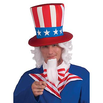 Uncle Sam Patriotic American Independence Day White Men Costume Wig & Chin Patch