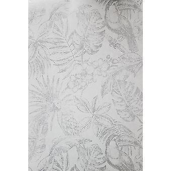 Muriva Sankuru metallic tropische behang vogels Floral blad licht grijs zilver