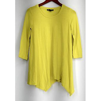 Kate & Mallory Top 3/4 Sleeve Tee Scoop Neck & Scarf Hemline Yellow A430986