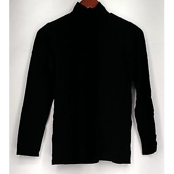 Bob Mackie (XXS) Long Sleeve Mock Neck Knit Top Black A282198