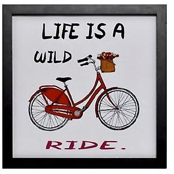 Wellindal Table Bicycle  Life is a wild ride  white 34x34x1,9 cm