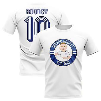 Wayne Rooney England Illustration T-Shirt (White)