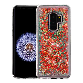 Hearts & Red Quicksand Glitter Hybrid Case for Galaxy S9 Plus