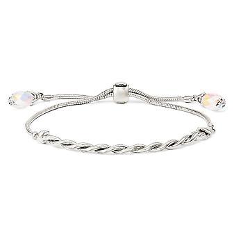 3,5 mm 925 Sterling Silber verdreht poliert Kristalle Quaste verstellbare Armband Schmuck Geschenke für Frauen