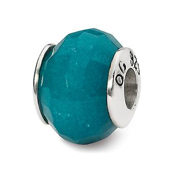 925 Sterling Silver Faceted Polished Antique finish Reflections Light Blue Quartz Stone Bead Charm
