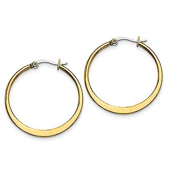 Invix Steel Oro lampeggiante lucido incernierato post giallo IP placcato tapered 34mm Hoop Orecchini regali gioielli per le donne