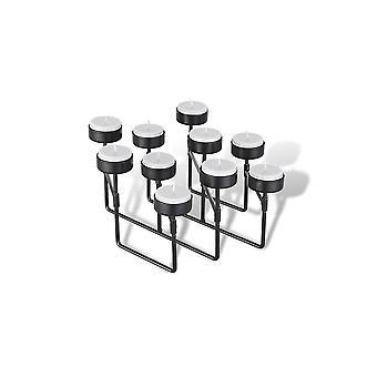LIFA LIVING porte-lumière de thé noir métal, 10 chandeliers avec construction extensible pour des occasions spéciales dans le secteur vivant, style industriel vintage