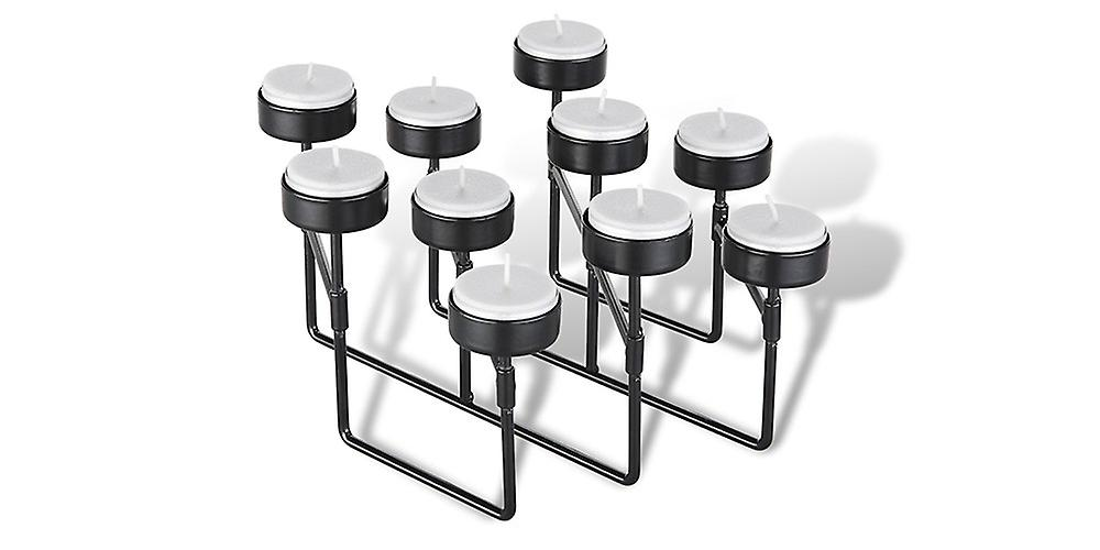 LIFA LIVING tea light holder black metal, 10 candlesticks with stretchy construction for special occasions in the living area, vintage industrial style