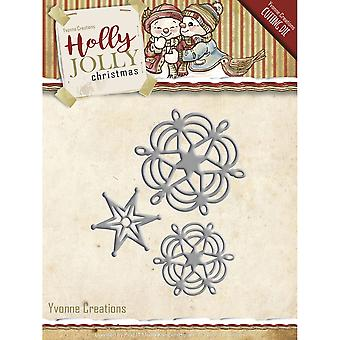 Find It Trading Yvonne Creations Die-Snowflake & Star, Holly Jolly